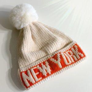 New York Pom Pom Acrylic Beanie Hat